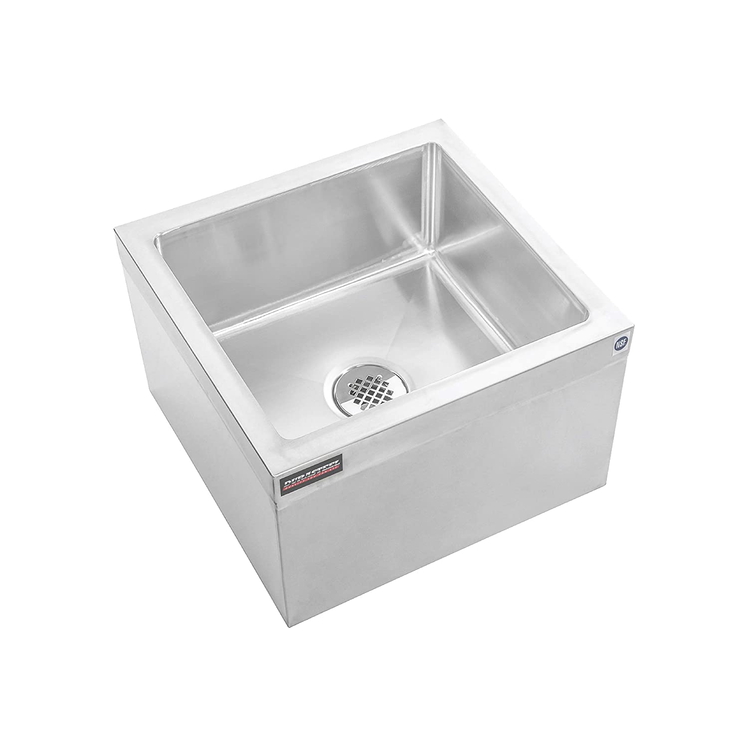 "DuraSteel Stainless Steel Floor Mount Mop Sink/Basin with Sink Drainage/Strainer and Mounting Accessories - 24"" W x 24"" L x 13"" H (Commercial kitchen, Restaurant, Business, Garages, Basements)"