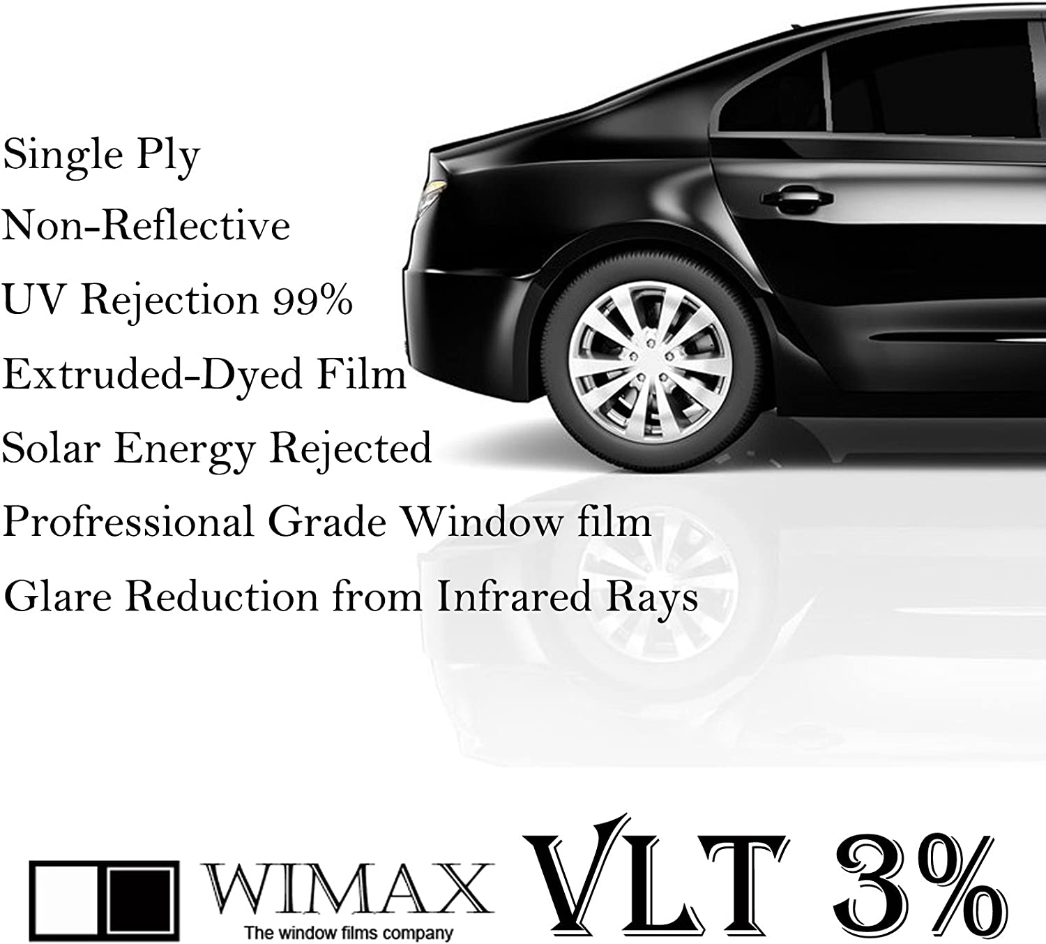 """Wimax Limo 3% VLT 36"""" in x 10' Ft Feet Uncut Roll Window Tint Film Auto Car Home Office"""