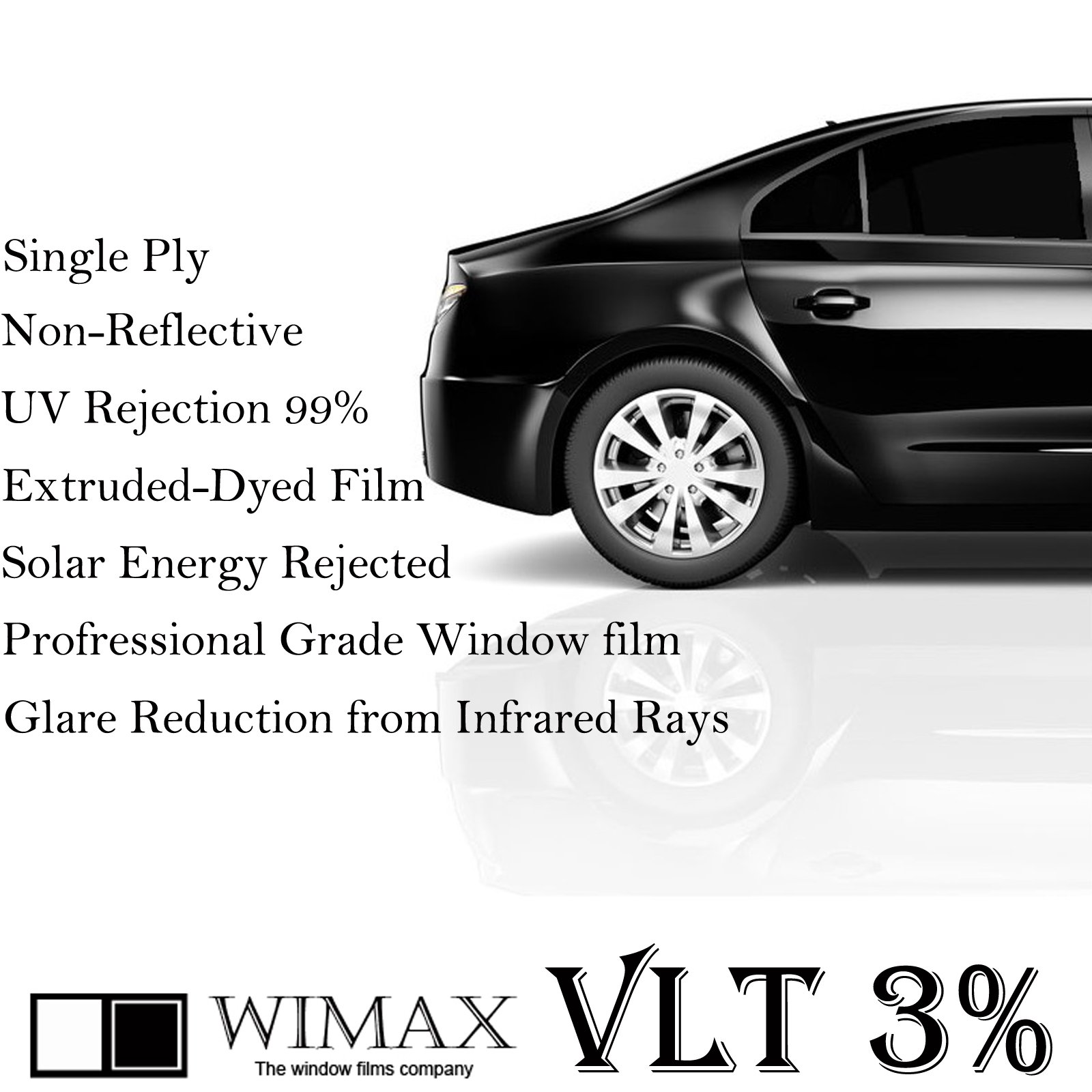 Wimax Limo 3% VLT 24'' In x 100' Ft Feet Uncut Roll Window Tint Film Auto Car Home Office