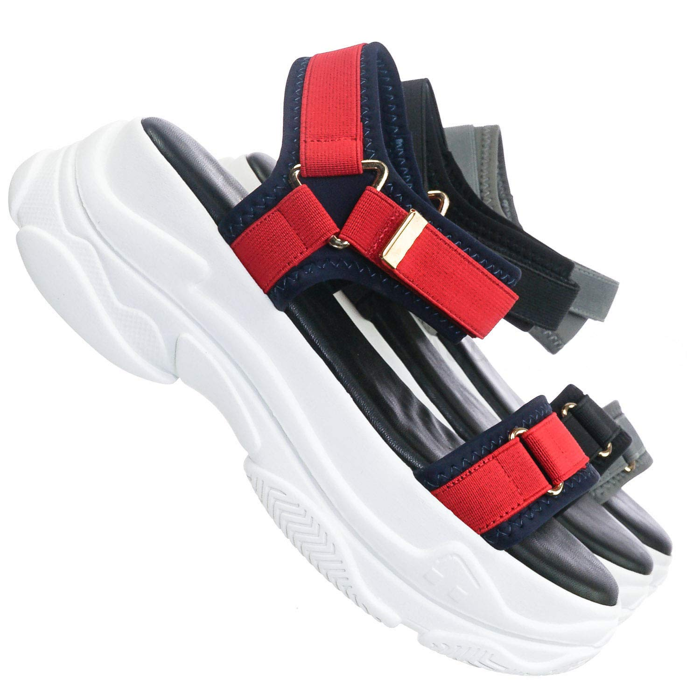 100c89ffa42ca Sporty Platform Nylon Sandal - Womens Hook & Loop Athletic Rubber Sole