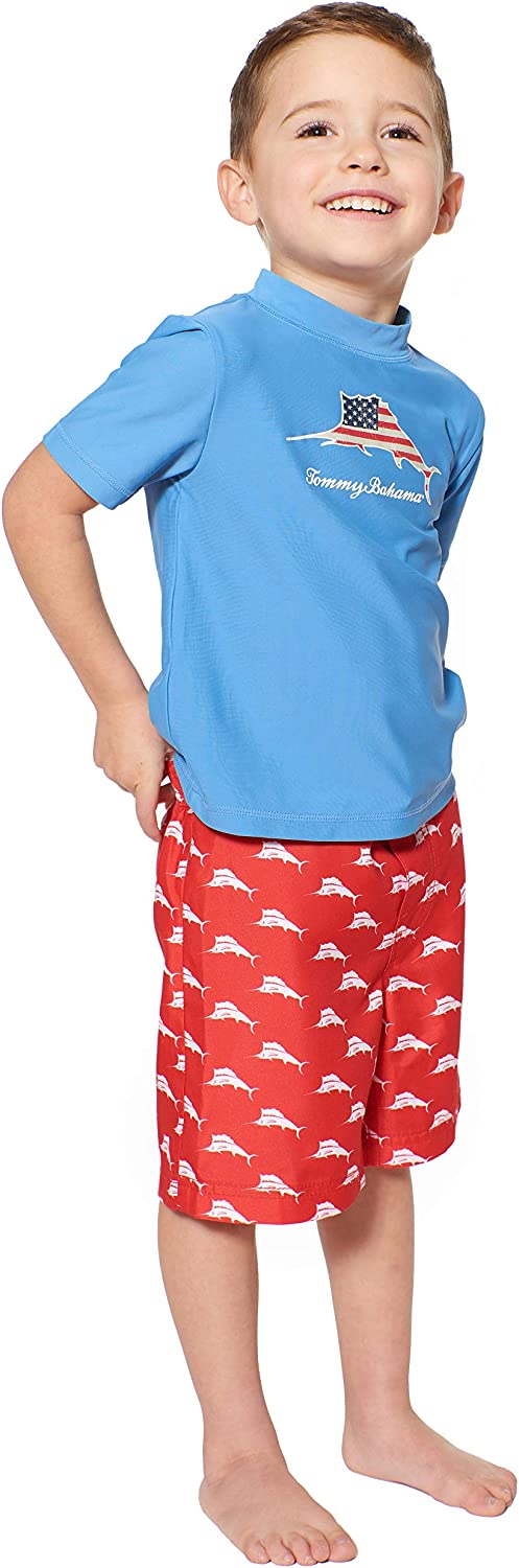 Tommy Bahama Boys Rashguard and Trunks Swimsuit Set