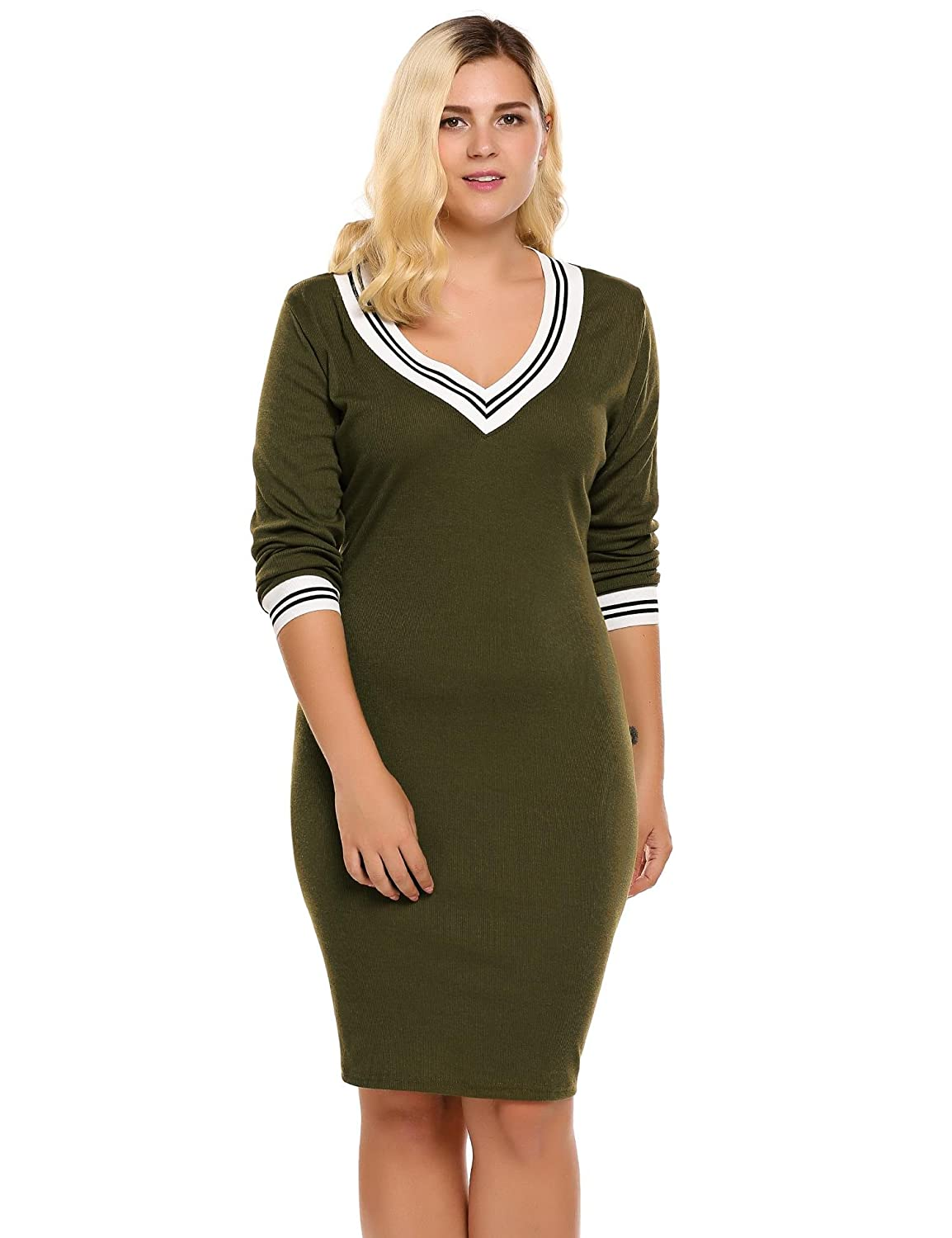 IN VOLAND Involand Women Plus Size Knit Sweater Dress Basic Slim Fit Long  Sleeve V Neck Stretchable Dress (16W~24W) at Amazon Women s Clothing store  fab623f4c