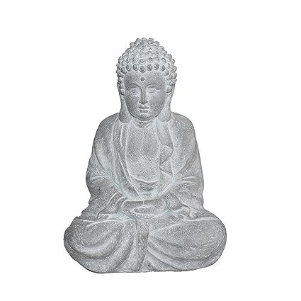 HOMEA 5dej1319bc Estatua Dibujo Buda Magnesia Blanco 26 x 16 x 37 cm