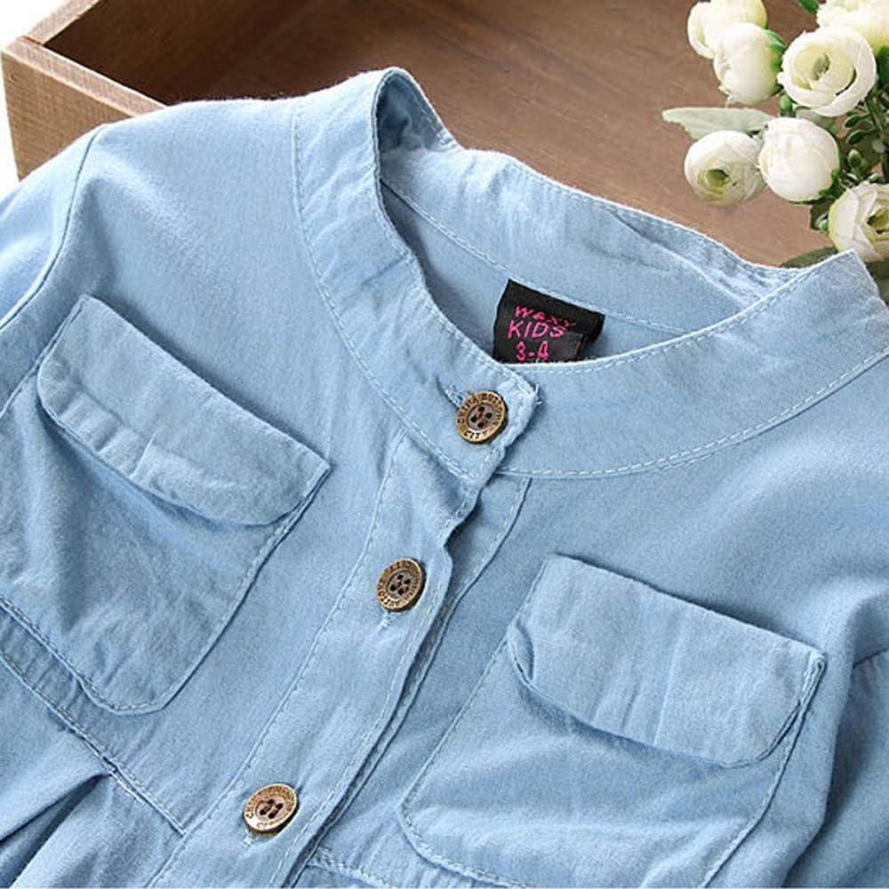VEKDONE Toddler Kid Baby Girls Denim Ruched Long Sleeve T-Shirt Tops Blouse Clothing