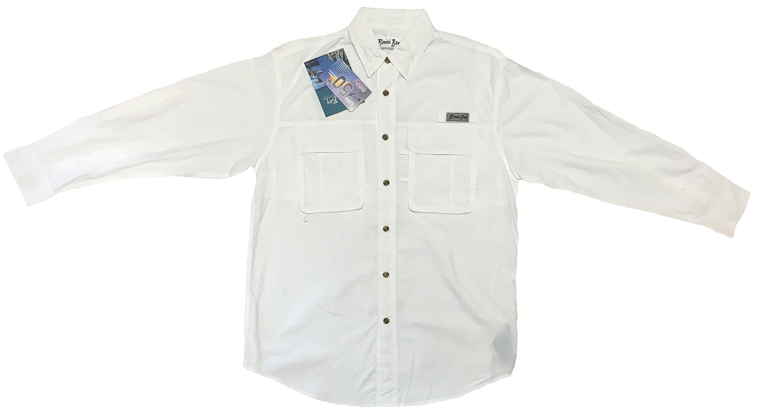 Bimini Bay Outfitters Men's Bimini Flats III Quick Dri Long Sleeve Shirt (2-Pack) (XXX-Large, White) by Bimini Bay Outfitters