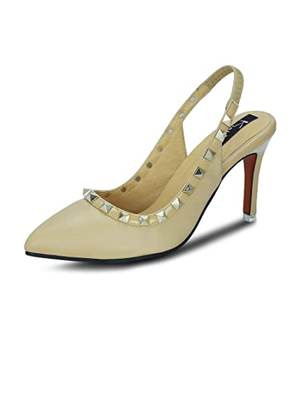 be4863fca5e5 Kielz Beige Stiletto Back Strap Women s Sandals  Buy Online at Low Prices  in India - Amazon.in