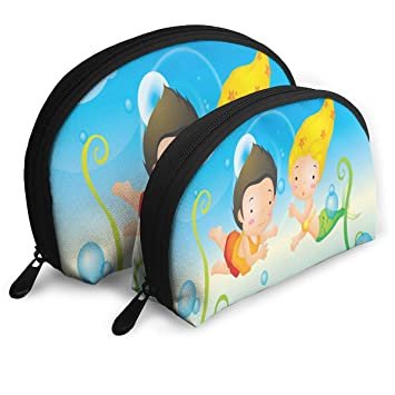 bf9c49854ef2 Amazon.com   Makeup Bag Boy And Mermaid Swimming Underwater Portable Shell  Makeup Case For Girlfriend Holiday 2 Pack   Beauty