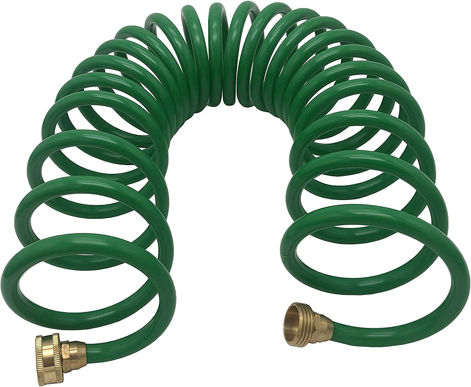 Powertech Coil Garden Water Hose Recoil Hose Garden Self Coiling Hose EVA Garden Hose Spring Garden Hose 25 FT with Brass Connectors