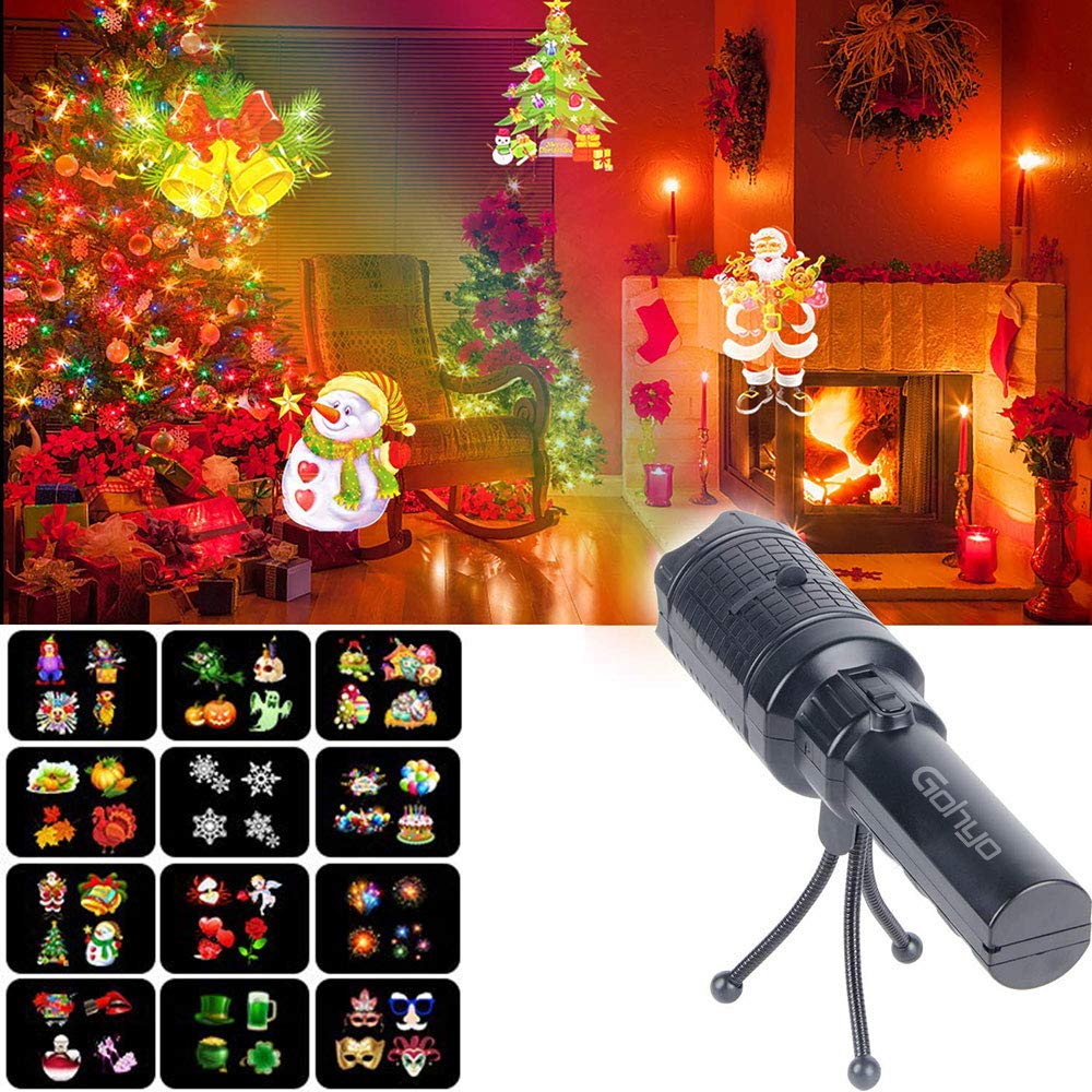 Gohyo LED Projector Night Light with 12 Pattern Slides Outdoor/Indoor Decoration Lighting for Christmas Xmas Birthday Party