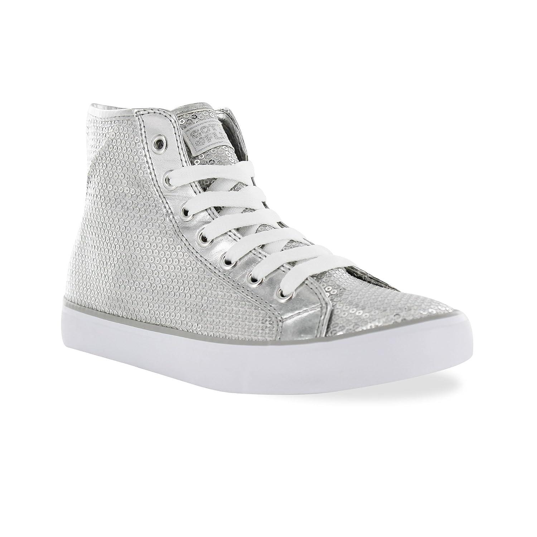 Gotta Flurt Hi Disco II Lace Up Top Sneaker B00XYYJ5J6 6.5|Silver
