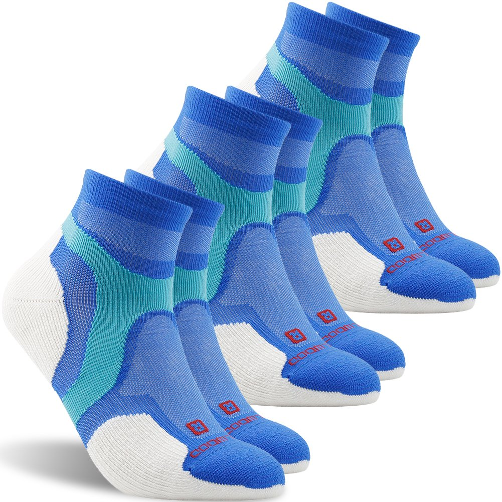 Running Socks, ZEALWOOD Merino Wool Anti Blister No Show Running Socks Women and Men Cycling Golf, Multi-Sport Thin Padded Low Cut Sock Moisture Wicking Athletic Socks-Blue/White,Large,3 Pairs by ZEALWOOD