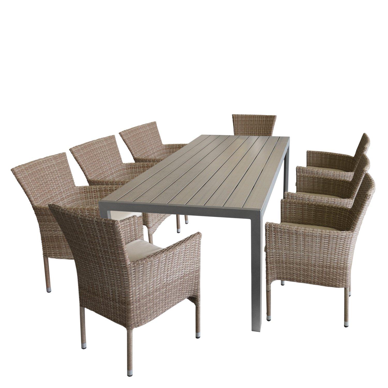 Wohaga 9tlg Gartengarnitur Gartentisch, Aluminiumrahmen, Polywood Tischplatte in Grau, 205x90cm + 8X Rattansessel, Polyrattanbespannung Nature, inkl. Sitzkissen Beige