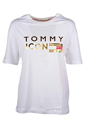 b6ea9ccf3 Tommy Hilfiger Women s Icons Nellie Crew Neck T-Shirt White L ...