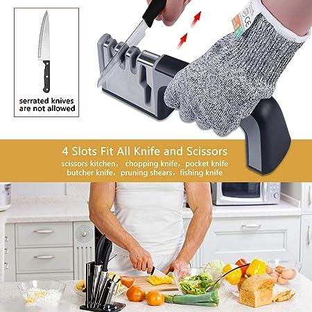 Afilador Cuchillos Profesional Amoladora De Cocina Kit Knife Sharpener,Afilado Pulido para Afilar Navajas y Tijeras de Embotados Muy Afilados,Manual Afila +un Guante (Plata)