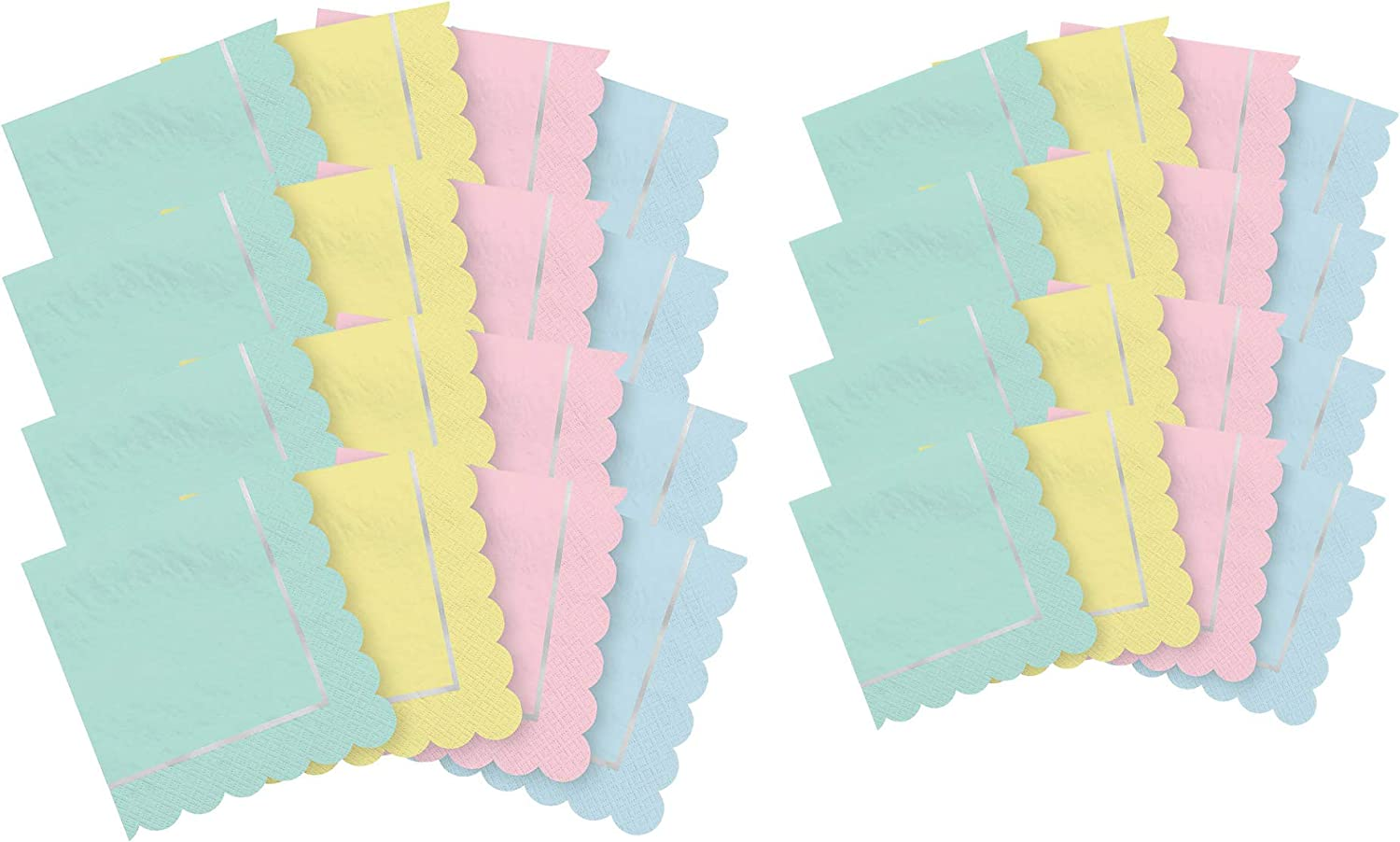 Pastel Party Supplies - Napkins for 16 Includes Beverage and Lunch Napkins in Mint, Pink, Blue, and Yellow Pastels with Scalloped Edge on Two Sides and Silver Foil Trim