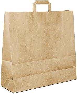 Papiertüten-Flachhenkel-Papiertragetaschen-Papiertaschen-Einkaufstasche-Uni