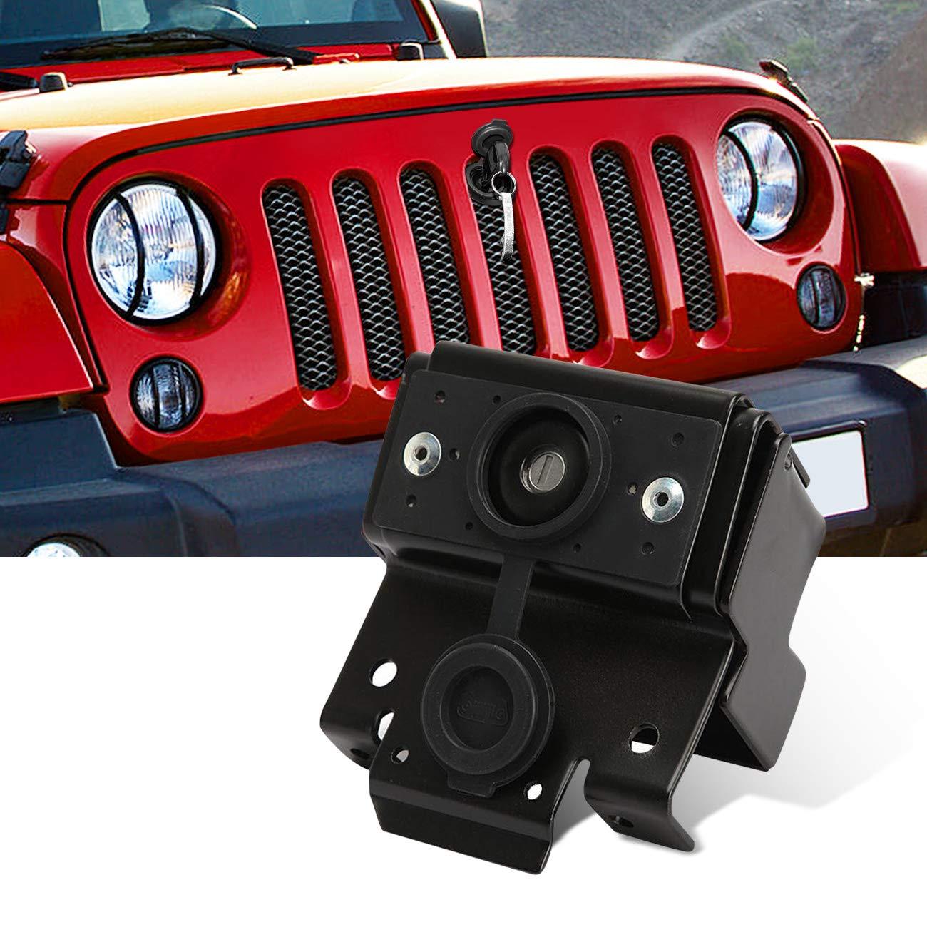 ALAVENTE Hood Lock Anti-Theft Kit for 2007-2017 Jeep Wrangler JK JKU /& Unlimited 2WD 4WD 82213051-AB