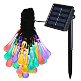 Amir Solar Fairy Lights, (8 Modes 30LED, 4.8M) Water Drops Solar String Lights, Waterproof Multi Color Icicle Christmas Lights for Easter, for Garden, Patio, Yard, Home, Tree, Parties
