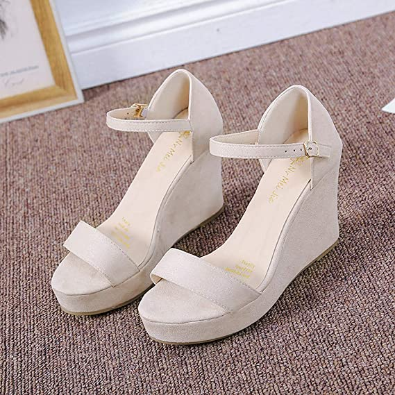 Amazon.com: Summer Suede Platform Sandals, Sharemen Elegant Wedge Sandals for Women Ankle Strap Espadrille Wedge Heel Sandals: Clothing