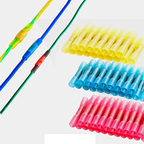 Heatshrink butt terminals electrical cable crimp connectors Red Blue /& Yellow