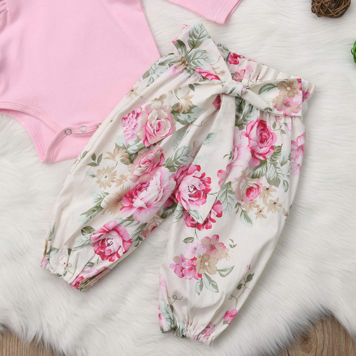 turuste Baby Girl Kids Three Piece Clothes Set Pink Romper Floral Pants Trousers Hairband