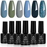 Beetles 6 Colors Gel Nail Polish Set - Grey and Nude Blue Glitter Gel Polish Kit Soak Off Nail Gel Polishes Set Fall…