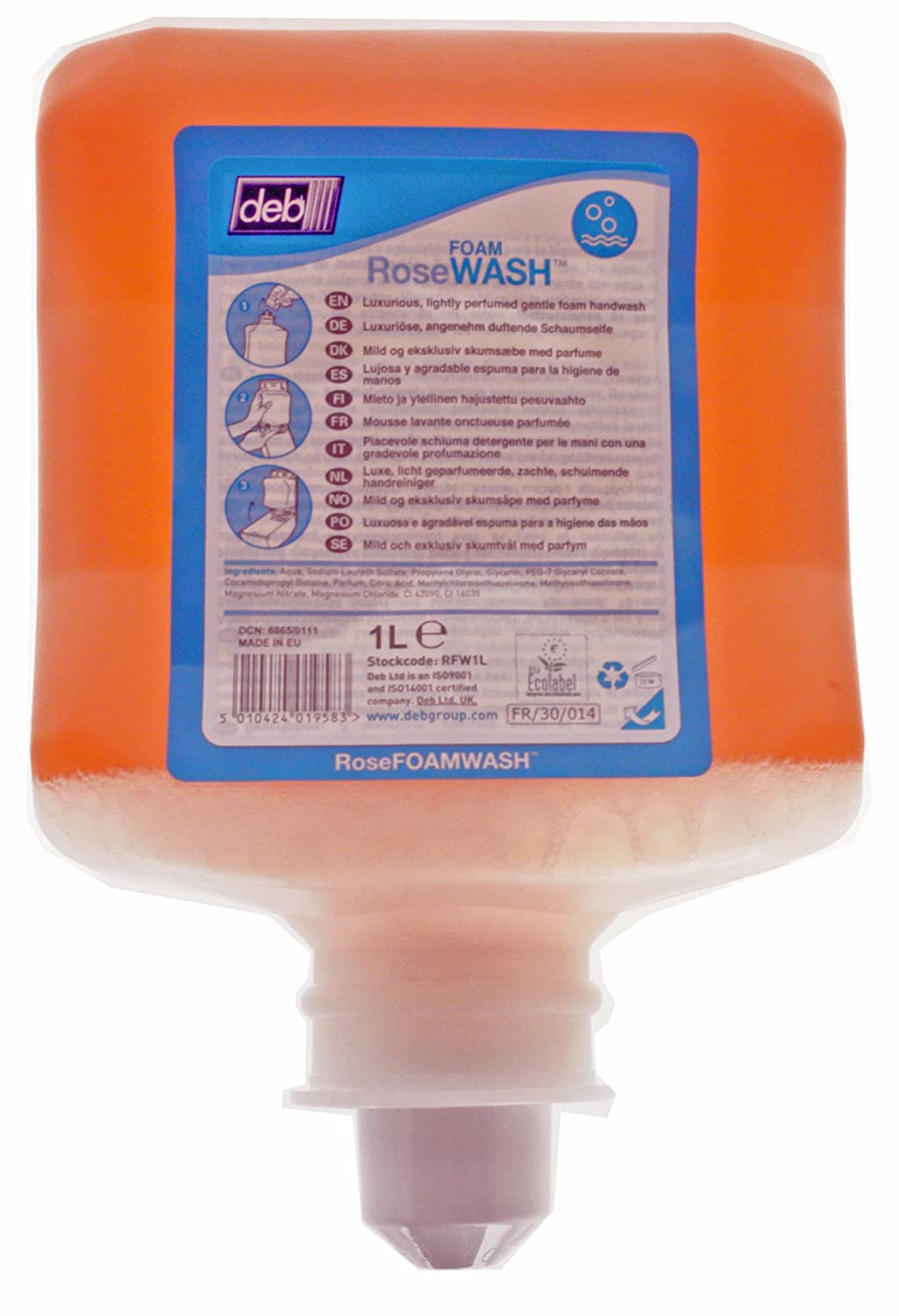 Deb RFW1L 1L Cartridge Rose Foam Hand Wash Deb Group Ltd.