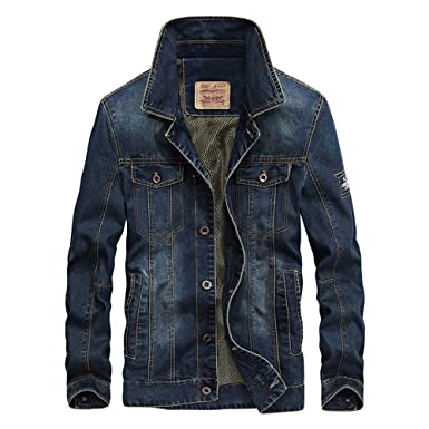 Mens jeep Motorcycle denim jacket coat (m, Dark bule)