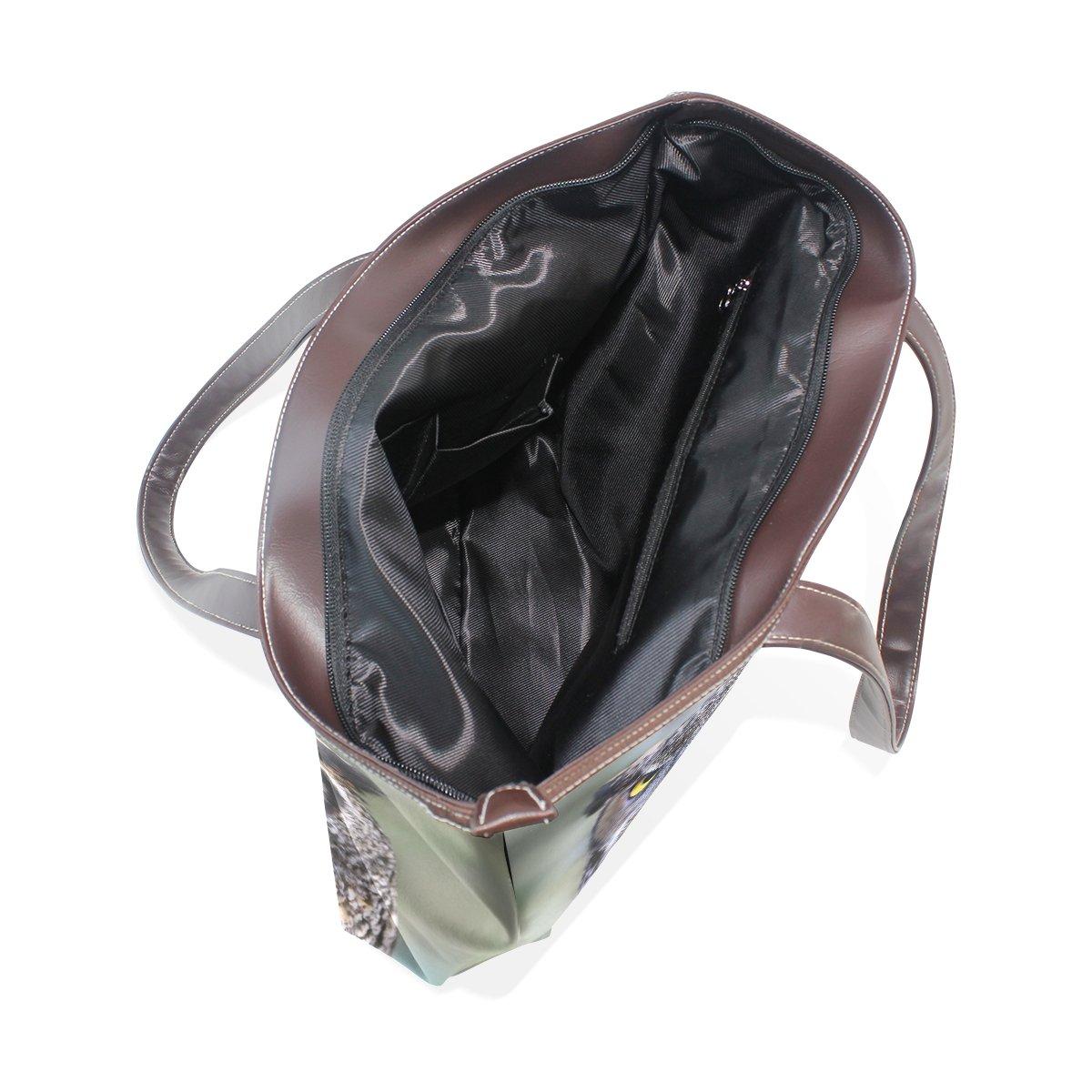 SCDS Painting The Owl PU Leather Lady Handbag Tote Bag Zipper Shoulder Bag