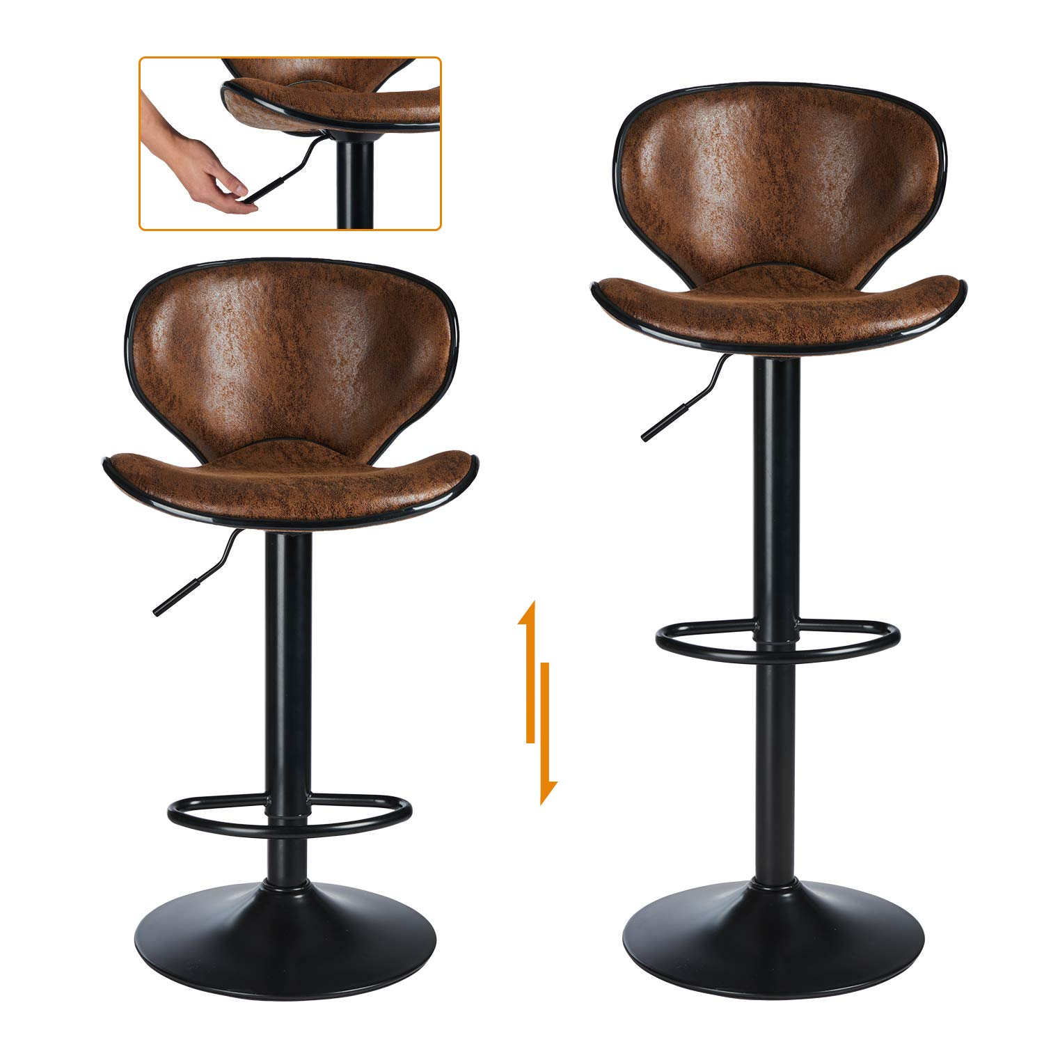 Vintage Bar Stools Set of 10 leather Bar Stools pair for Kitchens, Bar  Stools, Bar Chairs Breakfast Bar Stools, Adjustable height Bar Stool 10 to  10