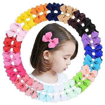 40pcs Mini Grosgrain Ribbon Pinwheel Hair Bows Alligator Clips for Baby Gilrs Toddlers Kids in Pairs