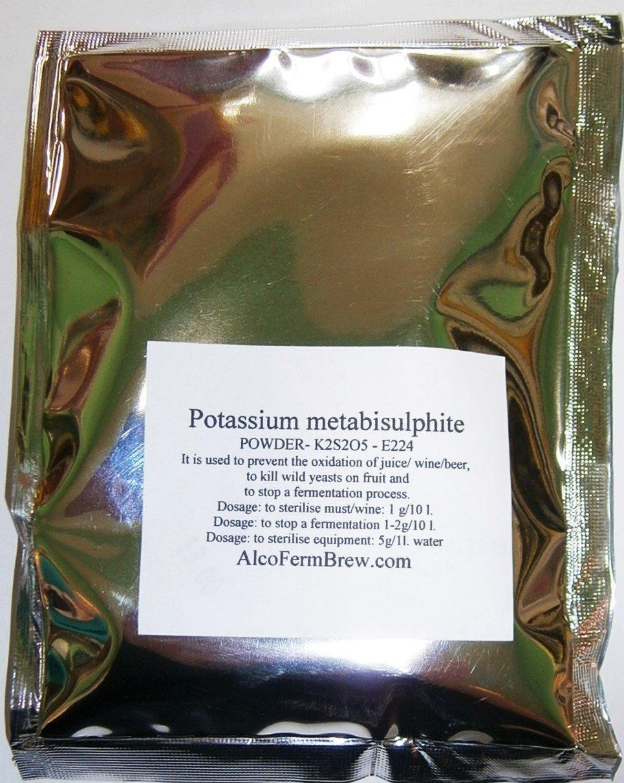 Metabisolfito di Potassio 100g - Stabilizzatore di vino | E224 | Conservante per Vino | Antiossidante del vino | Sanitizzante Alcofermbrew