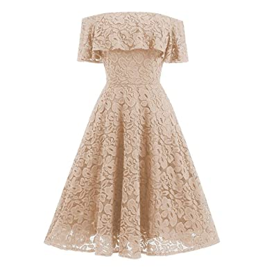 403c9708826 Kangma Women Off Shoulder Lace Flare Cocktail Party A-Line Knee Length  Strap Ball Gown