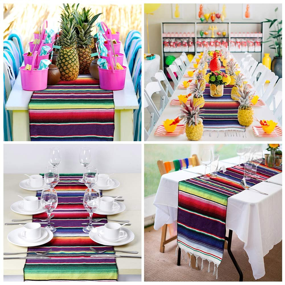 OurWarm 14 x 84 inch Mexican Serape Table Runner for Mexican Party Wedding Decorations, Fringe Cotton Table Runner by OurWarm (Image #7)