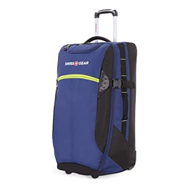 SWISSGEAR Extra-Large Lightweight Rolling Duffel   8-Day Capacity Wheeled, Soft-Shell Luggage   Men's and Women's - Blue/Green