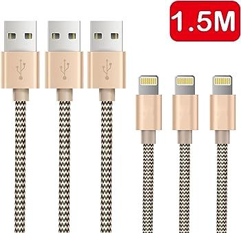 3-Pk OTISA 5-Feet Nylon Braided Lightning to USB Charging Cable