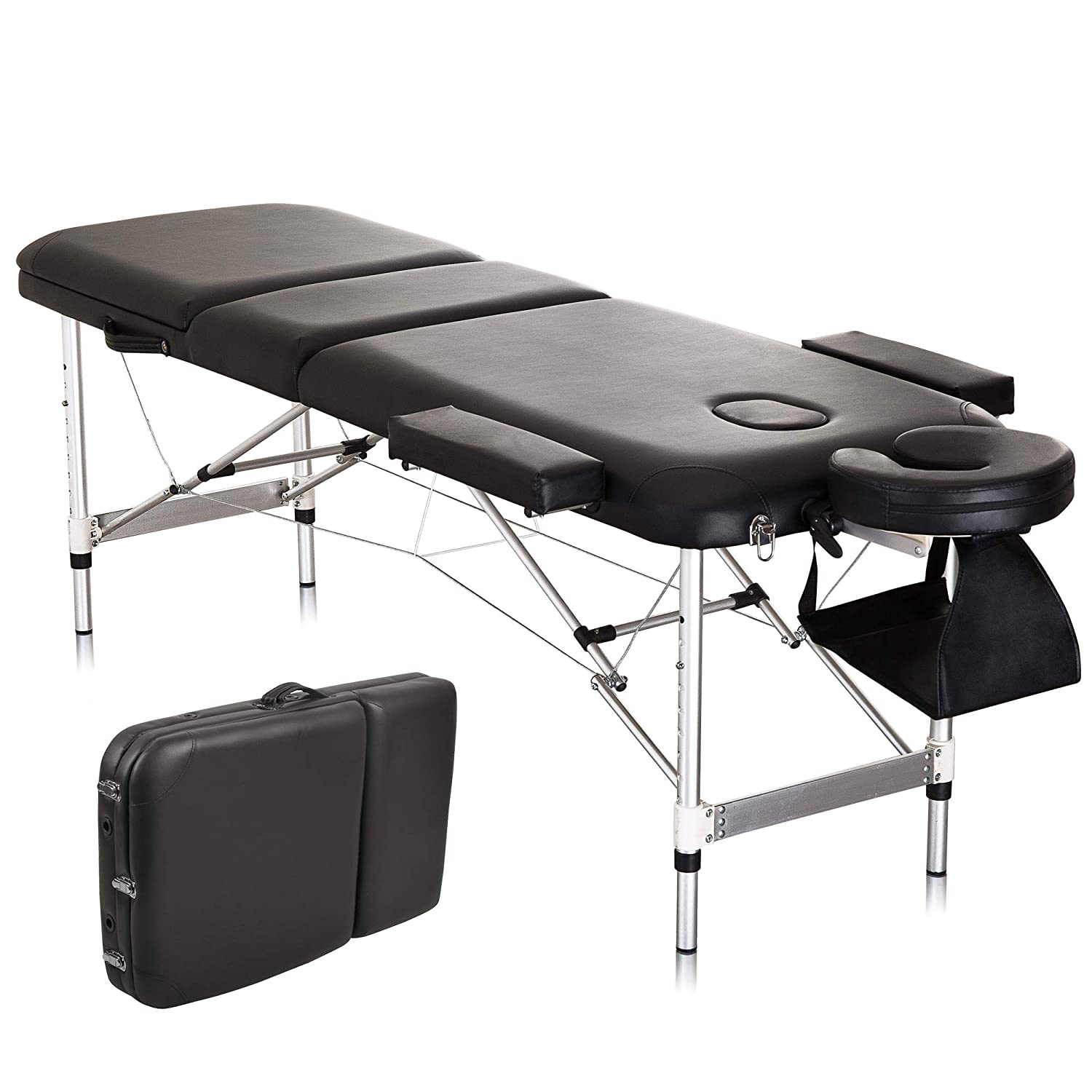 Protable Massage Table 73 Aluminium Spa Bed 3 Fold Height Adjustable with Carrying Bag and Additional Accessories,Black