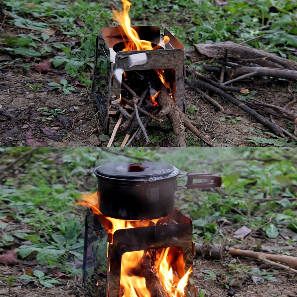 Po/êle /à Bois L/éger Titane pour la Survie en Plein air Cuisson Pique-Nique Chasse Lixada R/échaud de Camping Pliant Portable