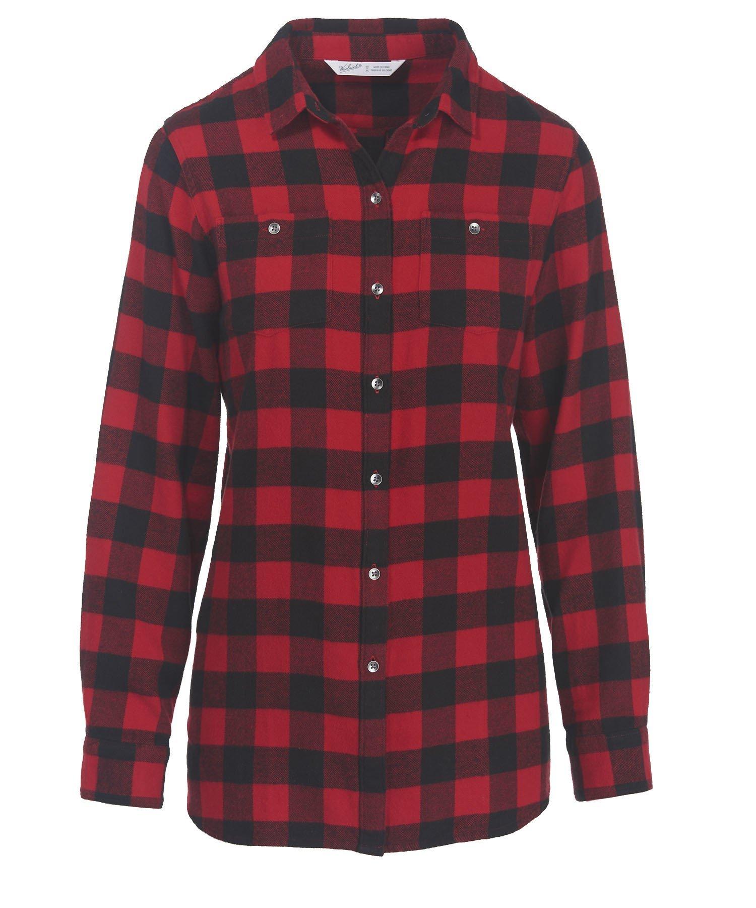 Woolrich Women's Pemberton Boyfriend Flannel Shirt, old red check, M
