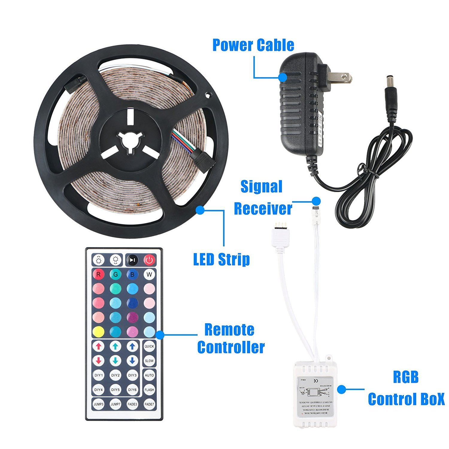 Flexible LED Strip Light Kit Linkstyle 16.4Ft LED Rope Lights 300 LED Tape Light, Color Changing RGB LED Strip Lights & 44Key Remote Controller and 12V Power Supply for DIY Bedroom Home Bar Party by LinkStyle (Image #7)