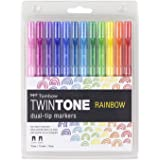 Tombow 61526 TwinTone Marker Set, Rainbow, 12-Pack. Double-Sided Markers Perfect for Planners, Journals, Doodling, and More!