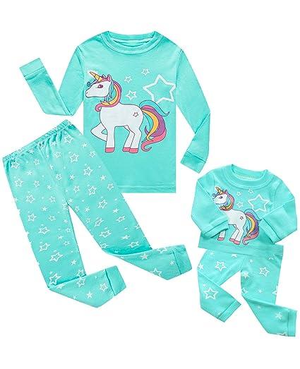 c8f6583f75868 Girls Matching Doll&Toddler Owl 4 Piece Short Cotton Pajamas Kids Clothes  Sleepwear
