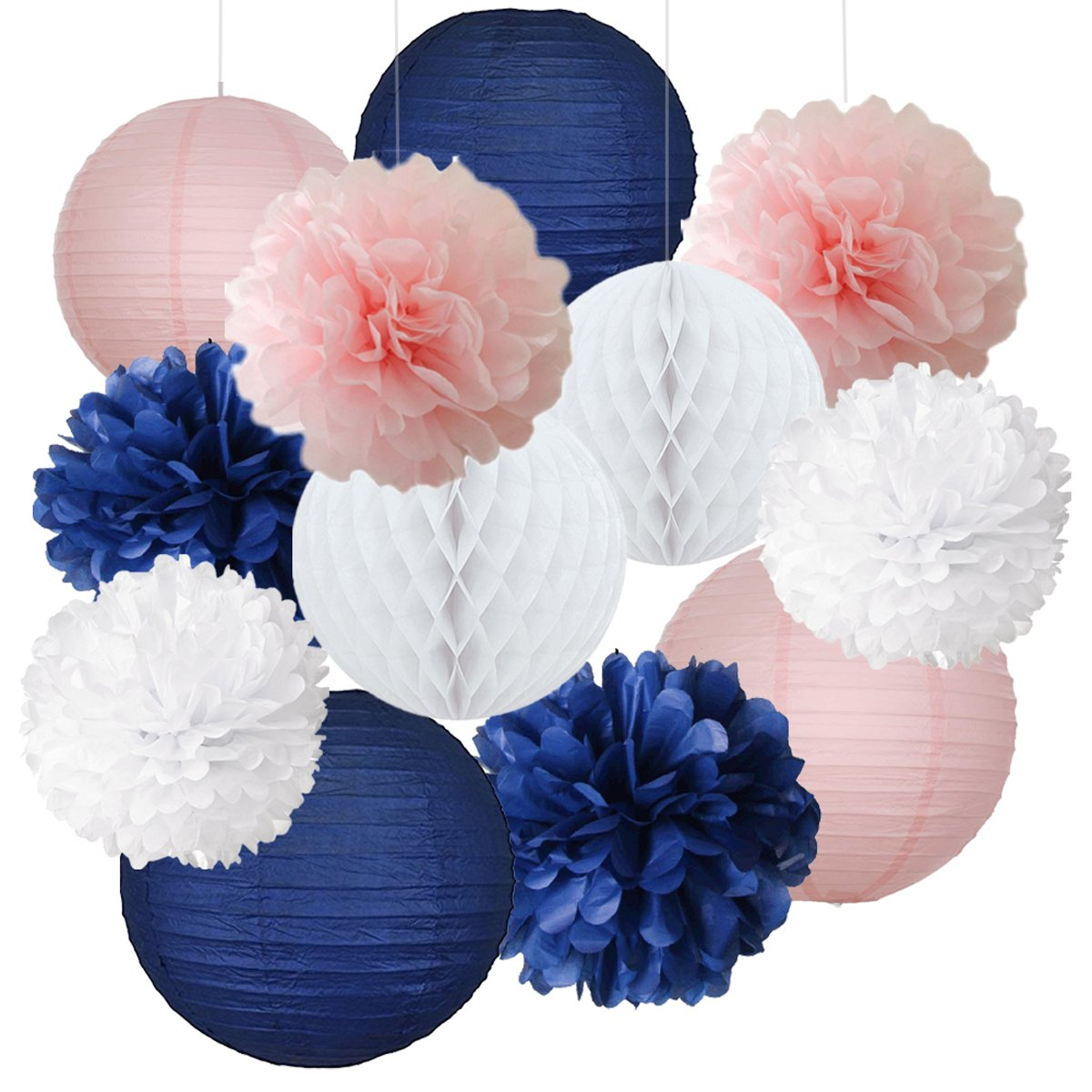 12pcs Mixed Navy Blue Pink White Party Tissue Pom Poms Hanging Paper Lantern Honeycomb Balls Nautical Themed Vintage Wedding Birthday Girl Baby Shower Nursery Decoration DreammadeStudio