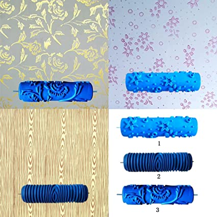 Magideal 7inch Embossed Star Pattern Painting Roller Brush Wall