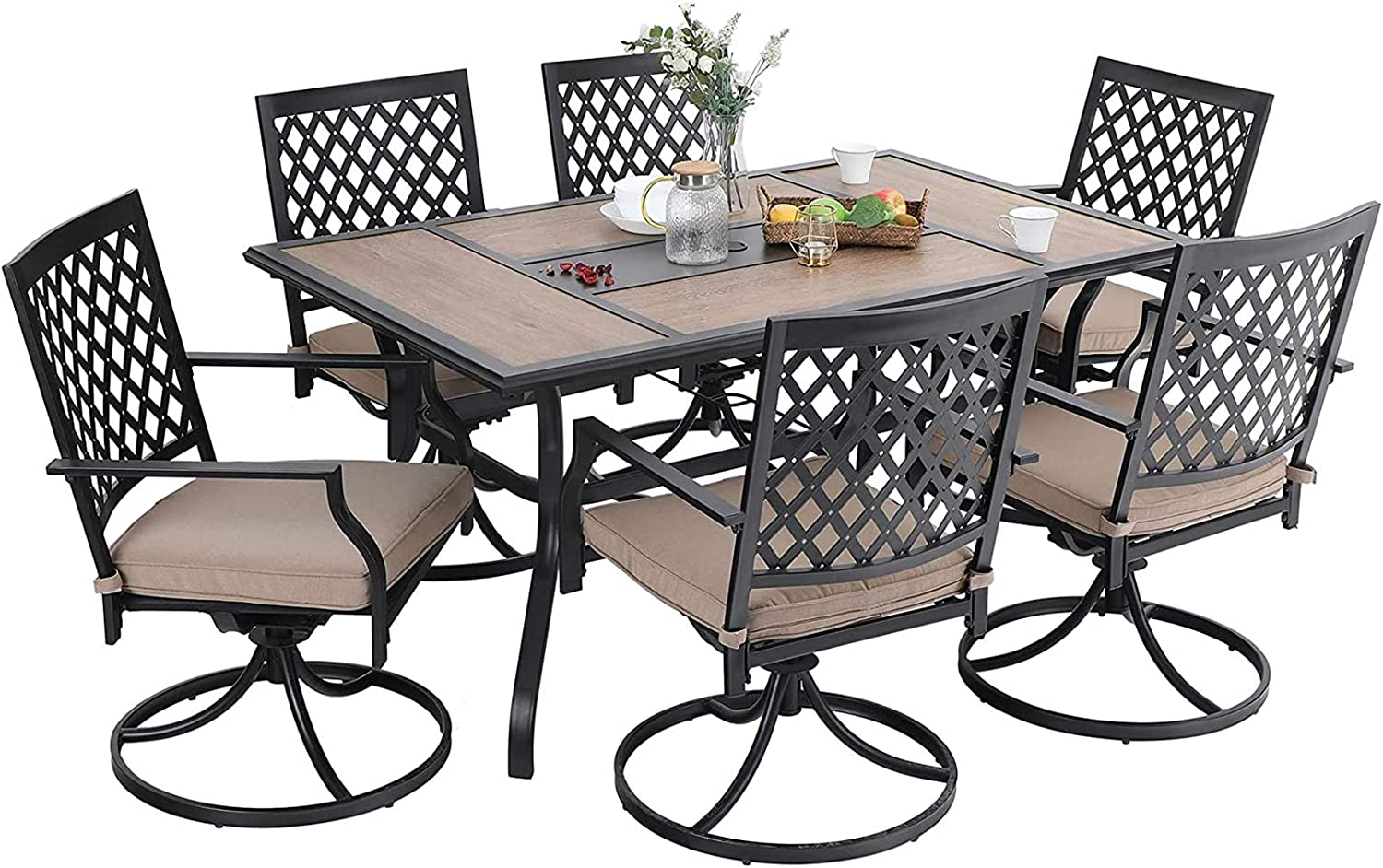 MFSTUDIO 7PCS Patio Dining Set, Large Rectangular Wood Like Top Table with 6 Swivel Chairs, Outdoor Metal Furniture Set with Umbrella Hole & Removable Cushions for Garden, Backyard, Poolside