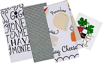 Italian Themed Decorative Cotton Kitchen Towels 1 Black Checkered Plaid 1 Delicious Cheeses 1 Say Cheese Printed Dishtowel Set For Dish And Hand Drying Includes Swedish Dish Cloth Buy Online