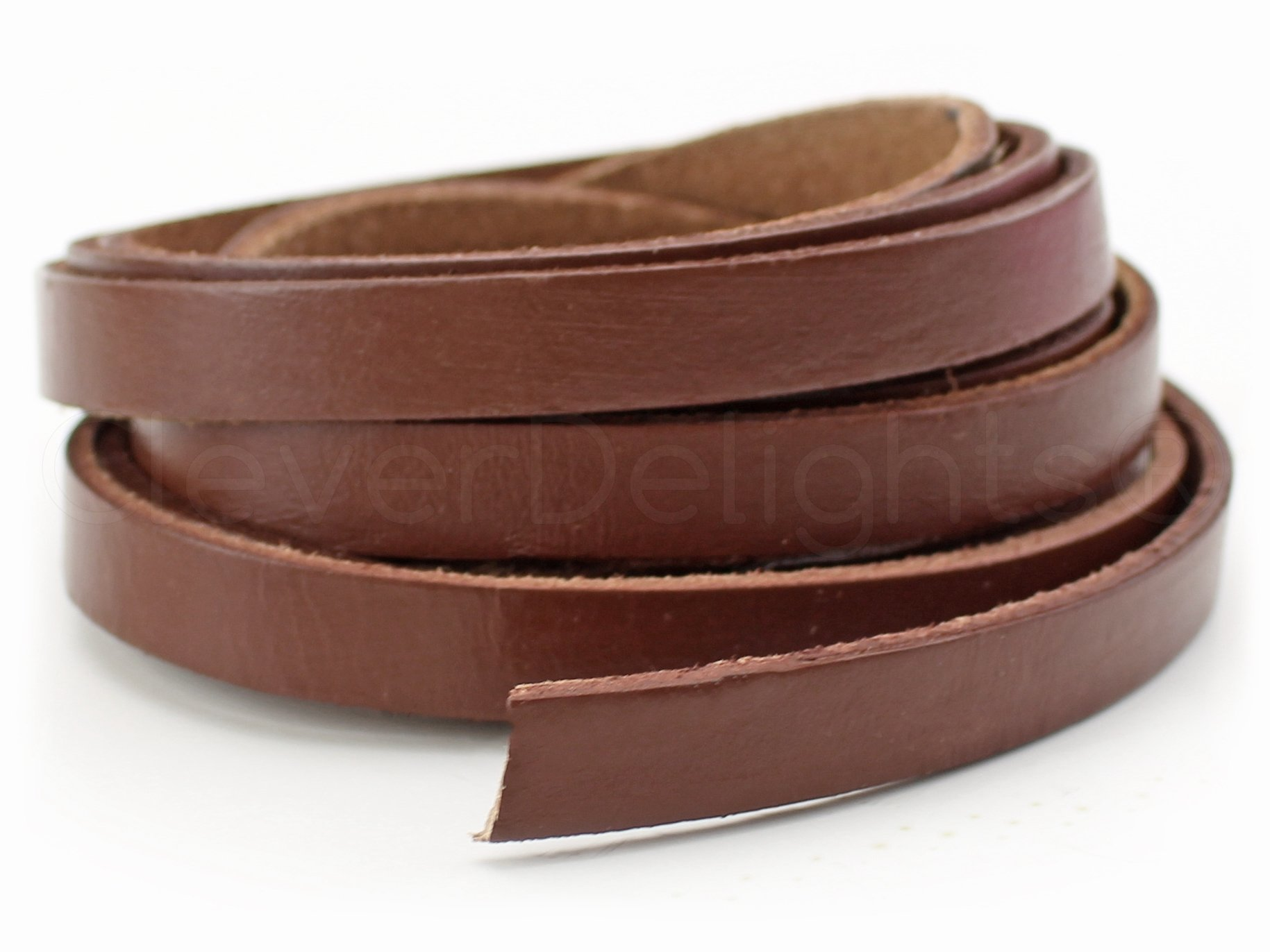 CleverDelights Genuine Leather Strap - Brown - 3/8'' Wide - 15 Feet Long - 5-6oz - Leather Craft