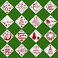 Christmas Stencils Template - Reusable Plastic Craft for Art Drawing Painting Spraying Window Glass Door Car Body Wood…