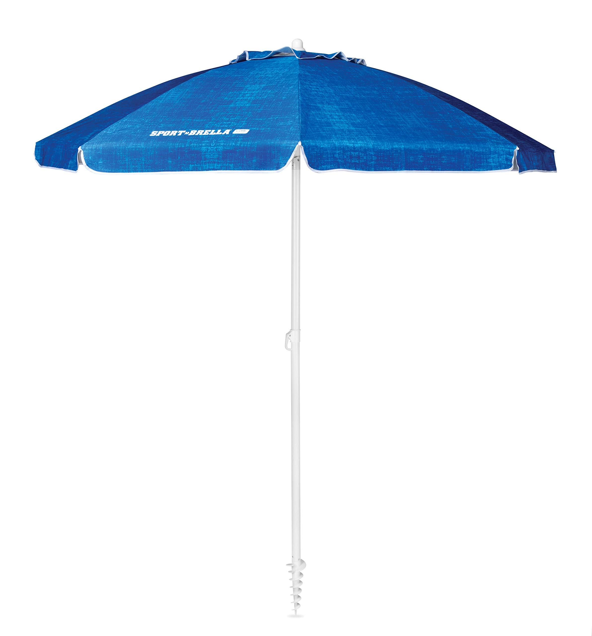 Sport-Brella Core Vented SPF 50+ Upright Beach Umbrella (6-Foot), Heathered Blue by Sport-Brella