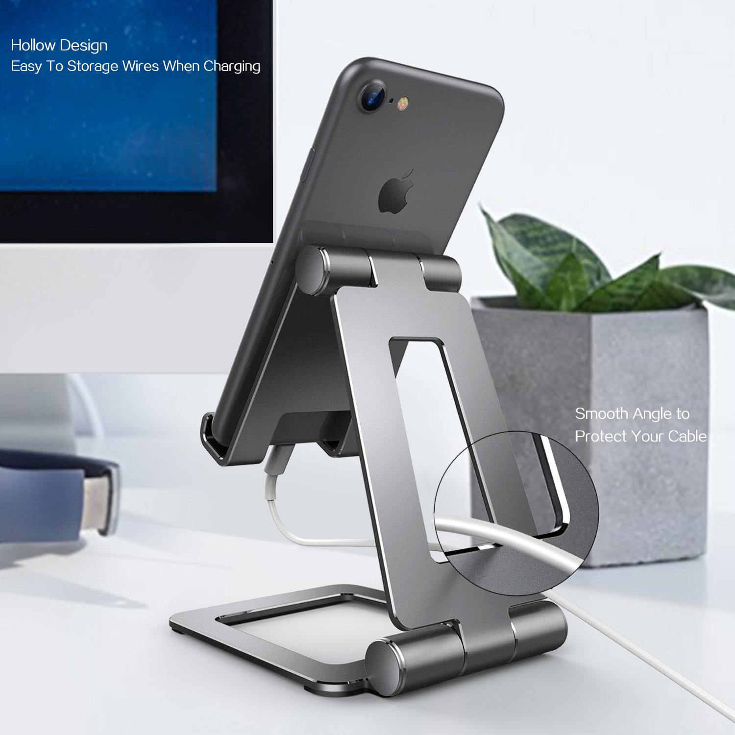 Adjustable iPad Stand, Tablet Stand Holders, Cell Phone Stands, iPhone Stand, Nintendo Switch Stand, iPad Pro Stand, iPad Mini Stands and Holders for Desk (4-13 inch) by Hi-Tech Wireless (Image #7)